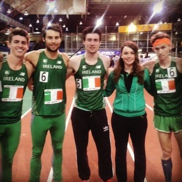Pictured with the world record breaking Irish team last night at the Armory, New York is Monica O'Connor, Loughnagin who was there to cheer them on. Declan Murray, Brian Gregan, Letterkenny's own Mark English and Ciaran O Lionard.