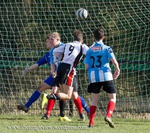 Paul McVeigh (No.9) opens his account as Letterkenny Rovers ran out comfortable winners over Derry City Reserves.