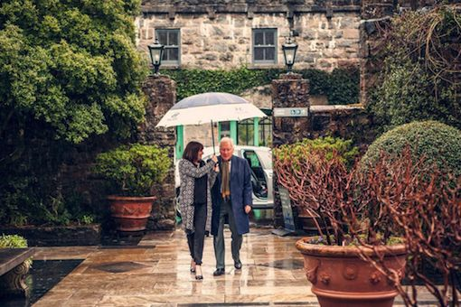 Gay Byrne makes his way through Glenveagh gardens to launch the Donegal Tourism brochure.