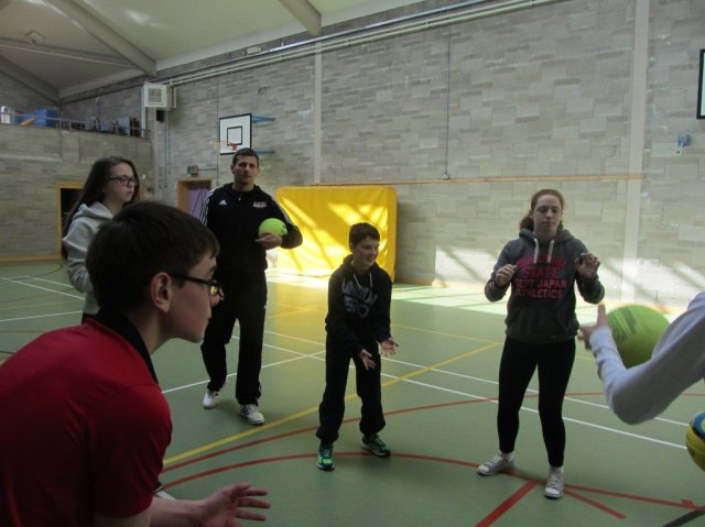 Some of the Mulroy pupils show Christy how it's done.