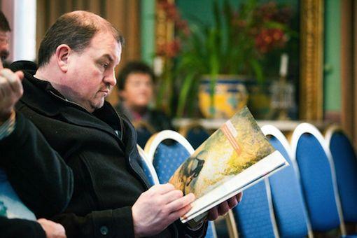 County councillor and businessman Ciaran Brogan looking through the brochure at the launch.