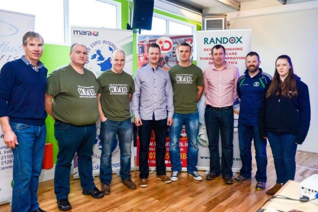 L-R Adrian Ward, JC Gillespie, Hugh Bonner, Gavin Ó'Dónaill, Neil McGee who launched the event, Dr. Ciaran Richardson Randox Teo Main Sponsors, Brian Ó'Dónaill and Bríd Boyle. The WAAR committee have put in a huge winter behind the scenes to bring this great fundraising event to the Naomh Muire GAA Club.