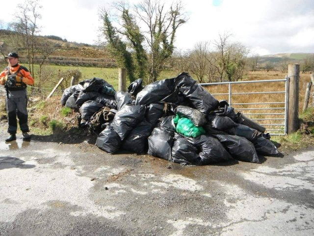 Some of the rubbish removed from the River Deele on Saturday.