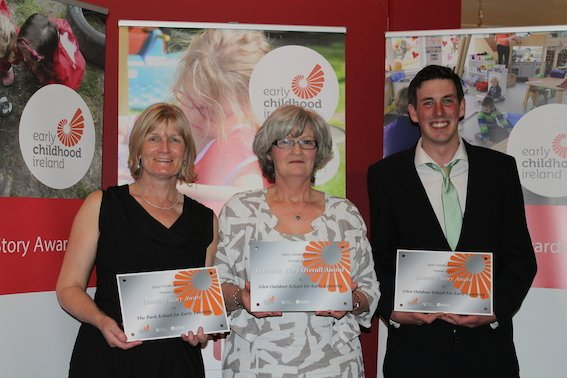 Triple win for Glen Outdoor School for Early Learning Letterkenny at Early Childhood Ireland Awards tonight in Croke Park Conference Centre, as the team picks up three awards including overall national award.  (l-r) Noreen Wallace, Sally O'Donnell, Eoghan McConnigley