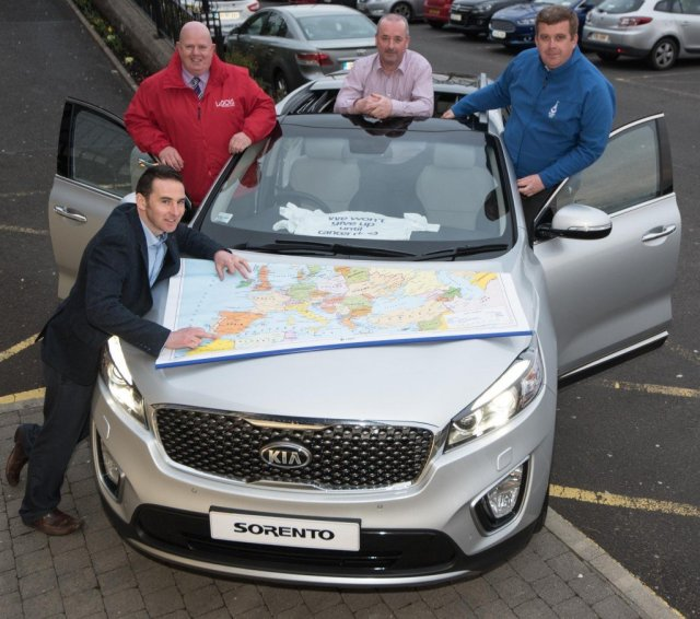 Seamus McLaughlin, Inishowen Motors pictured with three shopping centre managers Kevin Doyle, Laois Shopping Centre, Brian McCracken, Letterkenny Shopping Centre and Páraic Naughton, Galway Shopping Centre. The three shopping centre managers will undertake a non-stop charity drive from Malin Head to Tarifa in Spain, in a KIA Sorento sponsored by Inishowen Motors. All funds will go towards the Irish Cancer Society and Relay for Life, Donegal