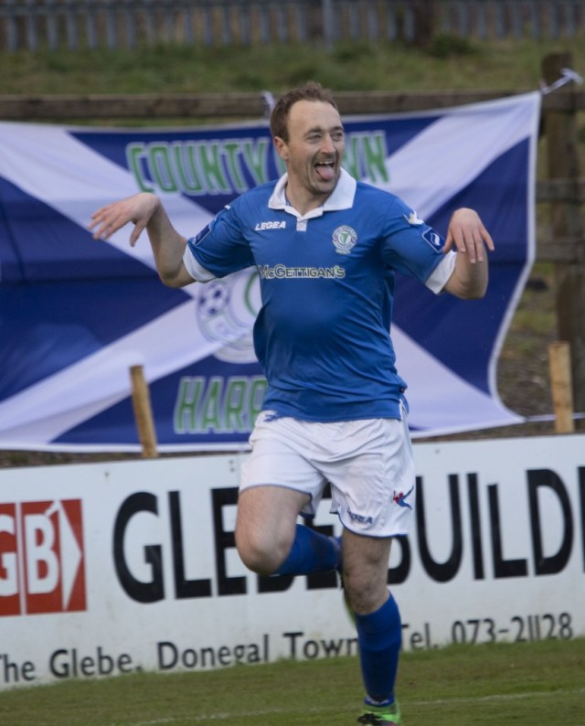 David Scully celebrates his goal against Bray which earned Finn Harps three valuable points.  (North West Newspix)