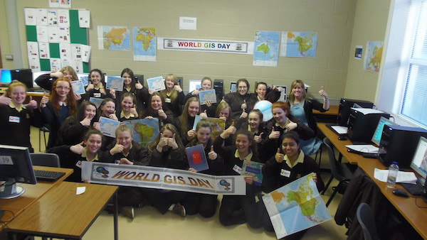 Ms Hennigan's geography class giving a thumbs up for World GIS Day