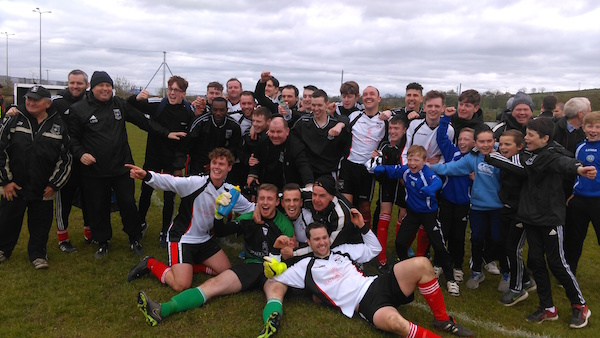 Rovers players and supporters celebrate after Sunday's famous victory.