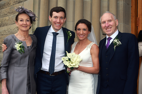 Irish Olympian Catriona Jennings and husband Martin McCoy from Sandycove Dublin. They are pictured at their wedding at St. Eunan's Cathedral, Letterkenny with Sinead's parents. Mick and Teresa. Photo Brian McDaid