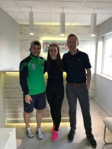 Carolann Cassidy with Aaron Kyles and Tommy Gallagher, who assisted in her preparation for her trip to Australia with the Irish Banshees
