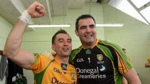 Karl Lacey and Paul Durcan, his Four Masters and Donegal team-mate, celebrate after the 2012 Ulster final