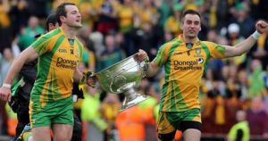 Karl Lacey and Michael Murphy with the Sam Maguire Cup in 2012