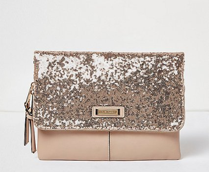 River Island Rose gold sequin fold over clutch bag €25