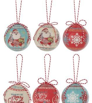 Set Of 6 Red Christmas Decoupage Baubles €11