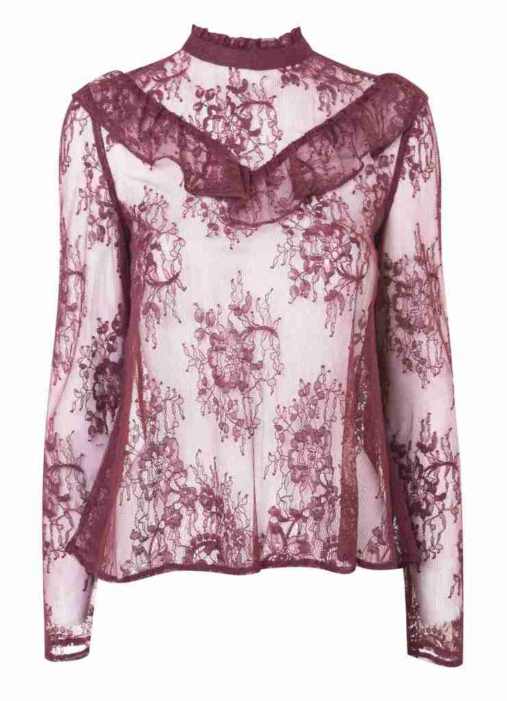 Miss Selfridge Burgundy Lace Ruffle Blouse €49