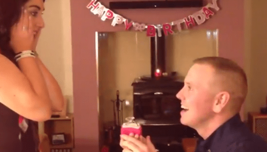 Video: Partygoers frozen in surprise by engagement