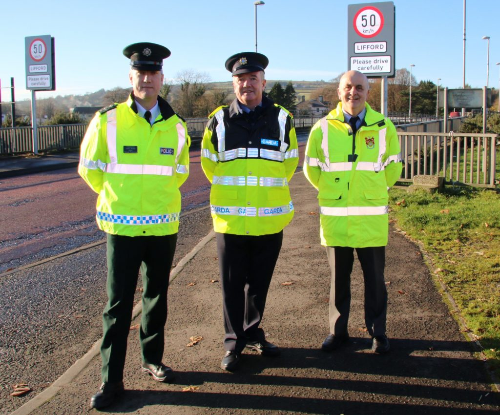 Inspector John Miller, PSNI, Inspector Michael Harrison, An Garda Siochana and Donegal Road Safety Officer, Brian O'Donnell launching this year's cross border Christmas Drink Driving campaign yesterday on the N14 at Lifford/Strabane border.
