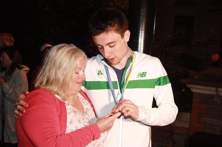 Teresa with Mark English after he won European Bronze in 2014