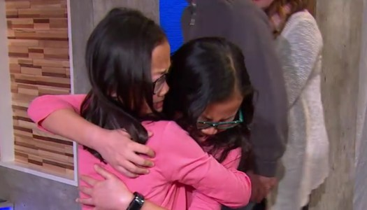 Emotional reunion for twin sisters separated at birth