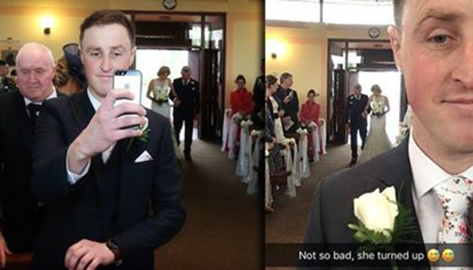 Groom snaps once-in-lifetime moment on wedding day