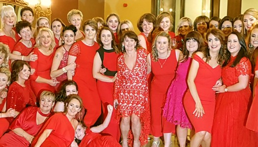 Ladies in red celebrate New Year's Eve in style