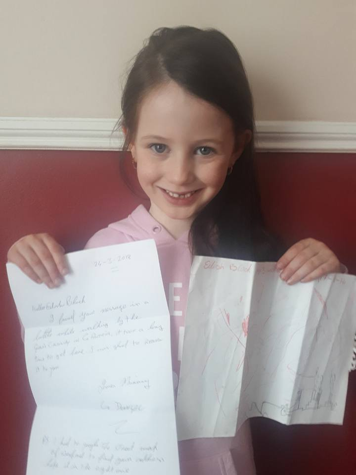 Eilish Black with her message in a bottle and the response from the Donegal man who found it, who she is now trying to find.