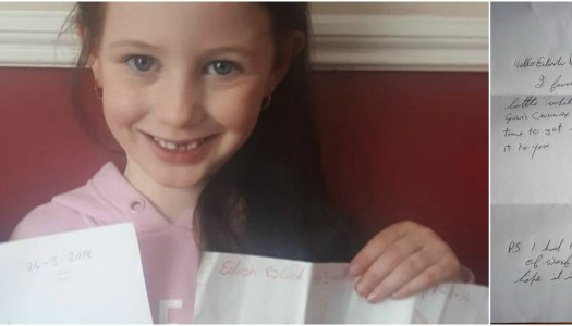 Eilish's message in a bottle makes remarkable 400km trip