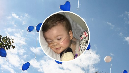 Blue balloons and prayers for baby Alfie
