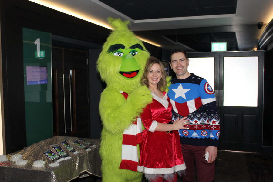 Maria and Emmet Rushe with Mr Grinch at #RushetoRaise 2019 in Century Complex Letterkenny