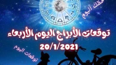 Photo of توقعات حظك اليوم الأربعاء جاكلين عقيقي abraj 20/1/2021