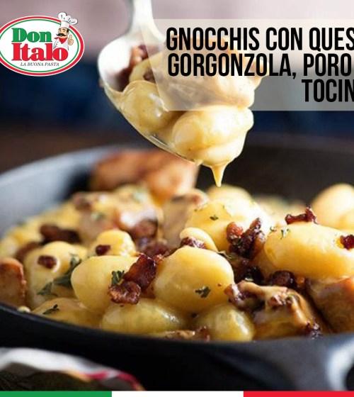 Gnocchi con Queso Gorgonzola, poro y tocino