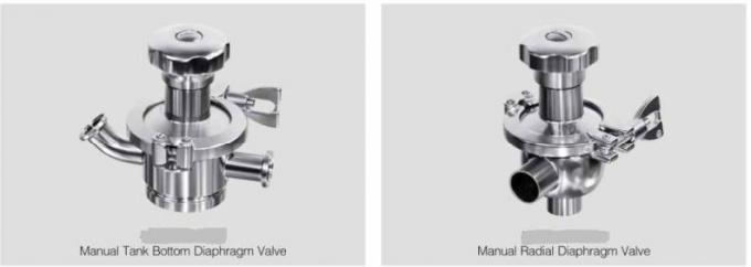 SS316L Manual Radial Diaphragm Valve EPDM PTFE Gasket for