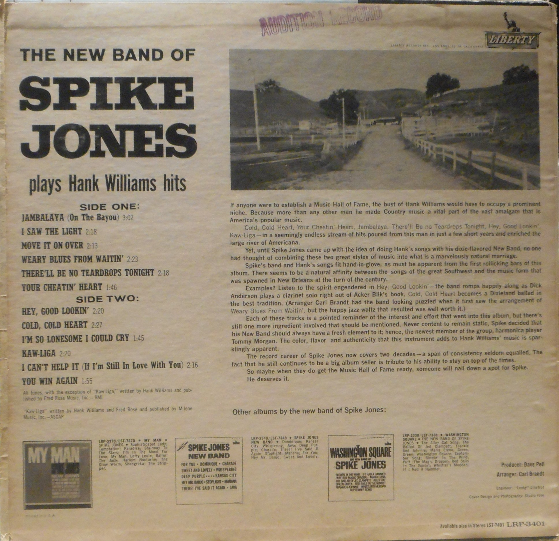 The New Band of Spike Jones- Plays Hank Williams Hits