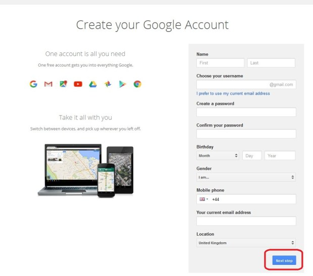 Create your Google Account - Filling Form