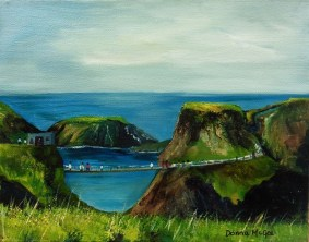 iRISH LANDSCAPSE ART Carrick-a-Rede Rope Bridge 10 x 8 inches Oil on Canvas