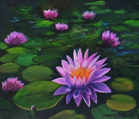 iRISH LANDSCAPSE ART My Lilly Pond - Oil on Canvas 10 x 12 inches
