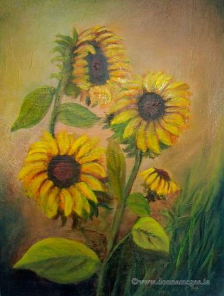 Sunflowers 16 x 12 inches - Oil on block canvas
