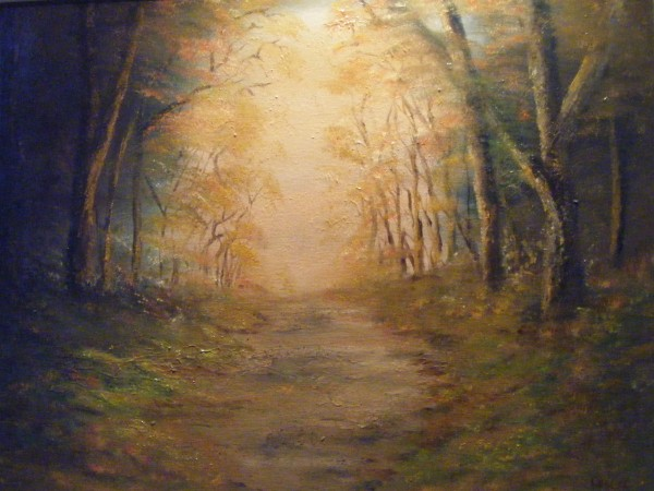 Autumn landscape painting, Dublin scene, woodlands, Marley Park, scenic Ireland