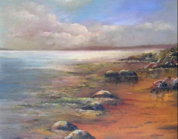 Seaweed, rocks on beach, Innisboffin, west coast of Ireland landscape, restful waters, moss coated rocks painting