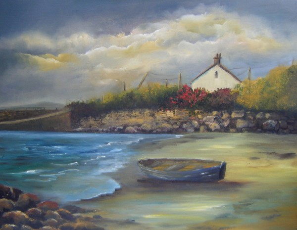 Eirvillagh, Co. Galway, West Coast of Ireland, landscape painting, moored boat
