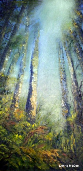Let the Light Shine , sunlight through trees, landscape painting