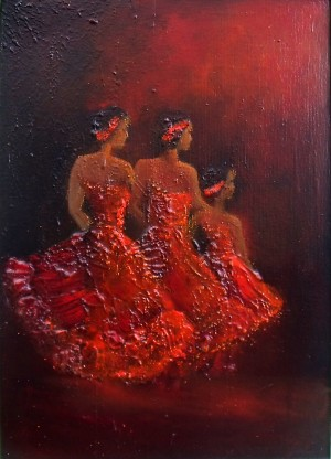 dancing girls, lady in red, stage performance,