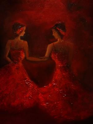 Ballet, dancing girls, ladies in red, dancing performance, dancing on stage