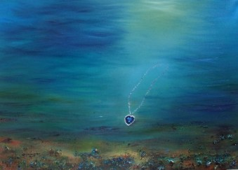 The Heart of the Ocean Necklace from The Titanic Oil based Mixed Media Painting © www.donnamcgee.ie