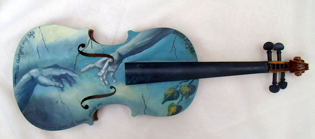 Violin art, the creation of adam, oil painting of creation of adam, michaelangelo, cistine chapel, fresco of God and Adam