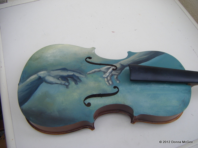 Violin art, oil painting on a violin, the creation of adam