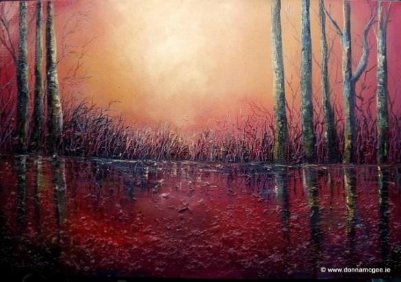 burning light of the setting sun re-ignites the dormant marshlands oil painting