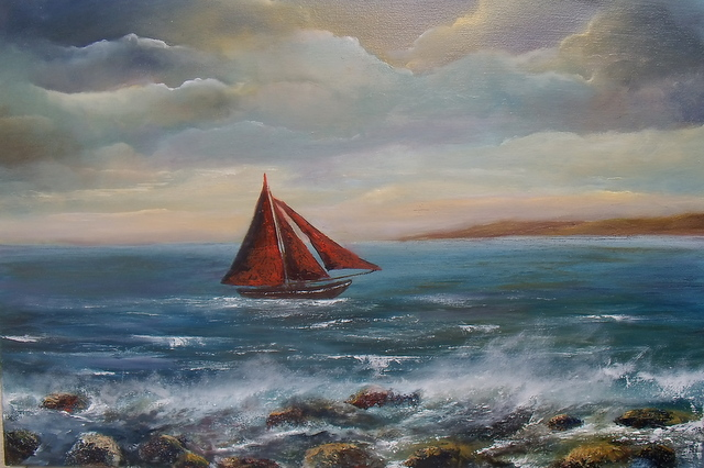 """Galway Hooker - Oil on canvas 20 x 30"""" © www.donnamcgee.ie"""
