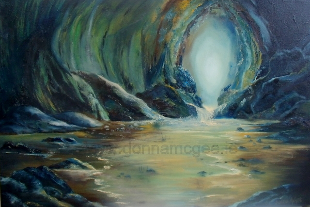 """Safe Haven Seascape, Cave Oil on canvas 20 x 30"""" © Donna McGee"""