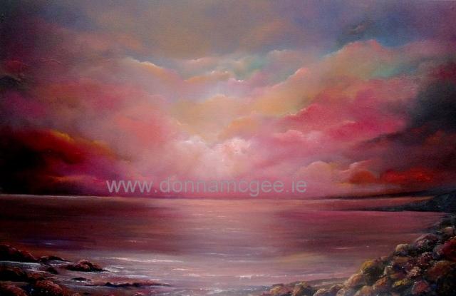 """Fuchsia Sunset 20 x 30"""" Oil on canvas © donna mcgee"""